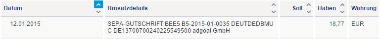 Bee5 Auszahlung auf dem Kontoauszug