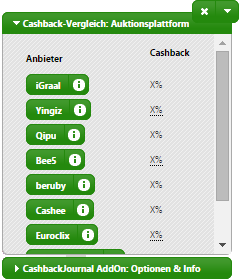 Screenshot CashbackJournal Browser-AddOn