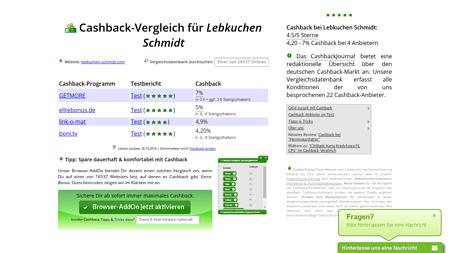 Cashback Vergleichen