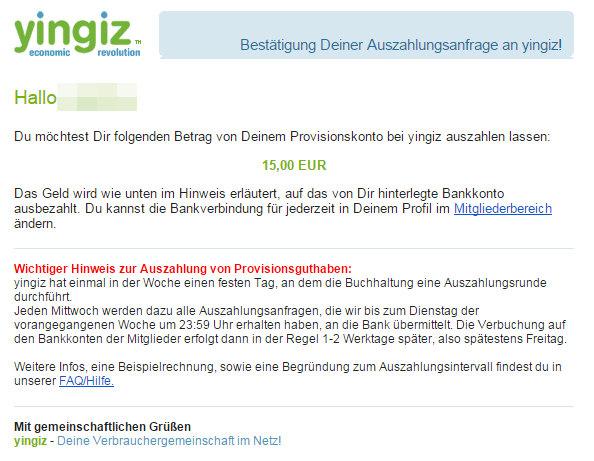Auszahlungsbestätigung per E-Mail