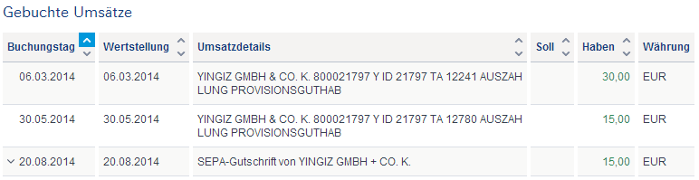 Regelmäßige Yingiz-Auszahlungen für meine ID 21797