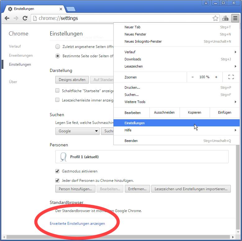 """1. Rufe die Chrome-Einstellungsseite auf und klicken dann unten auf """"Erweiterte Einstellungen anzeigen"""""""