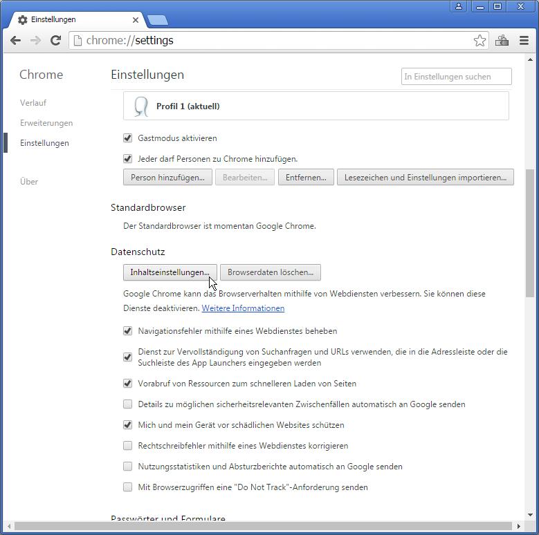 """2. Scrolle herunter, bis Du unter """"Datenschutz"""" auf """"Inhaltseinstellungen"""" klicken kannst."""