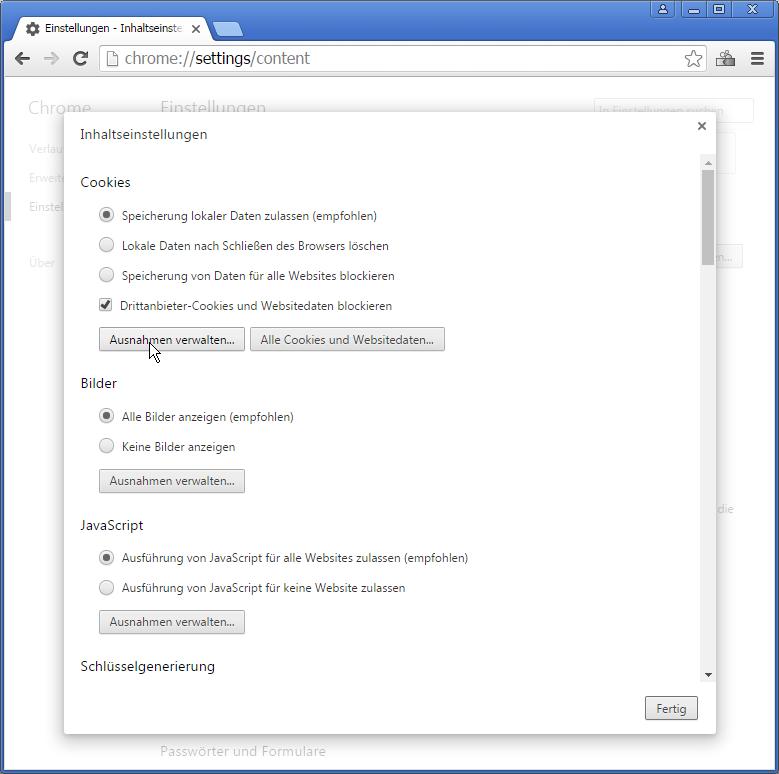 """3. Das Häkchen unter """"Drittanbieter-Cookies und Websitedaten blockieren"""" löst das Problem aus. Entferne entweder dieses Häkchen oder klicke auf """"Ausnahme hinzufügen"""", gib dort addon.cashbackjournal.de als Domain an und klicke auf """"Fertig""""."""