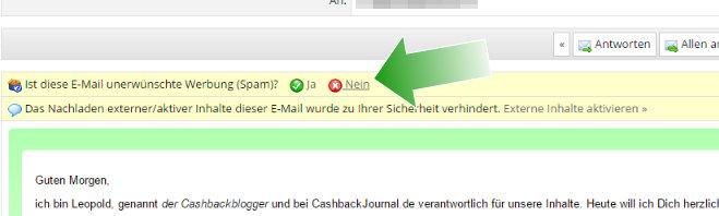 """Manchmal will emailn.de noch wissen, ob eine Nachricht """"Spam"""" ist. Ist meine natürlich nicht, deshalb hier bitte noch """"Nein"""" anklicken."""