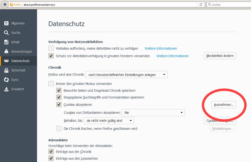 """1. Rufe die Firefox-Einstellungen auf und klicke auf die Rubrik """"Datenschutz"""". Hier kannst Du entweder unter """"Cookies von Drittanbietern akzeptieren"""" die Option """"Immer"""" einstllen oder eine Ausnahme für uns hinzufügen."""