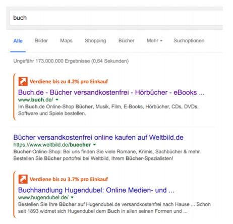 Das link-o-mat Browser-AddOn blendet in die Google-Suche seine Cashback-Konditionen ein