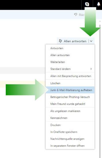 """Klicke rechts von der Nachricht auf den Pfeil nach unten im Button """"[Allen] antworten"""". Klicke dann in dem sich öfffnenden Menü auf """"Junk-E-Mail Markierung aufheben""""."""
