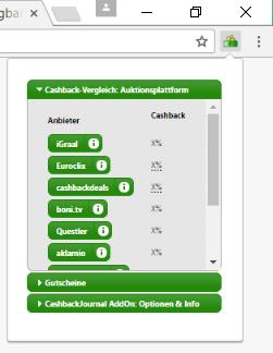 Ein Klick auf das Icon öffnet den Cashback-Vergleich jetzt in einem eigenen Mini-Fenster.